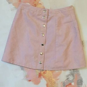 Women's H&M Size 6 Pink Faux Suede Mini Skirt